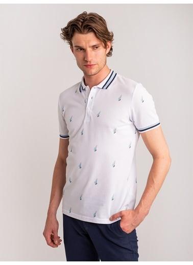 Dufy Marın Temali Yaka Detayli Polo Yaka Erkek T-Shirt - Slim Fit Beyaz